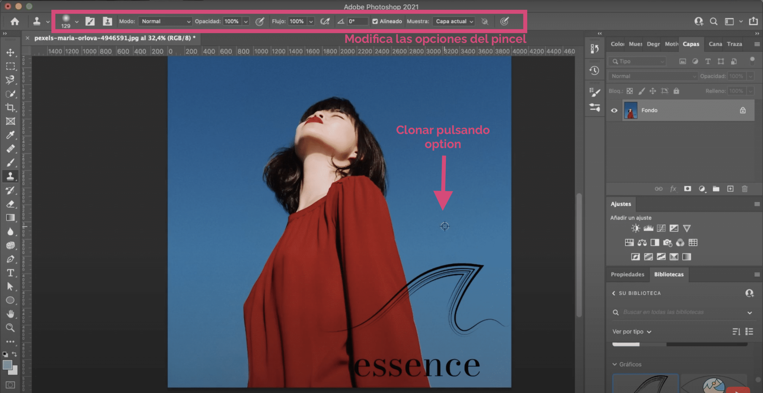 Utiliza el tapón de clonar para eliminar la marca de agua en Photoshop