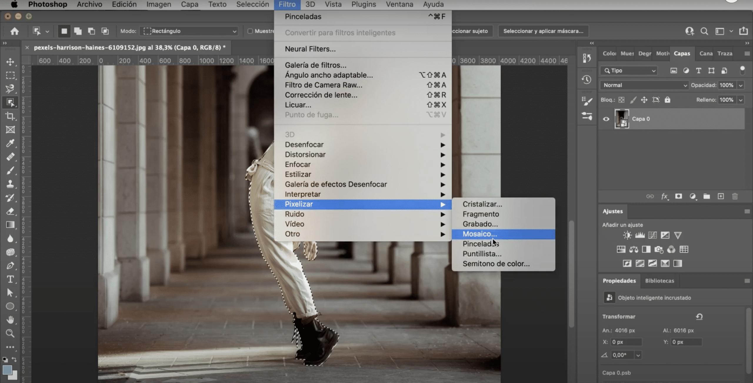 Seleccionar filtro pixelizar mosaico en Photoshop