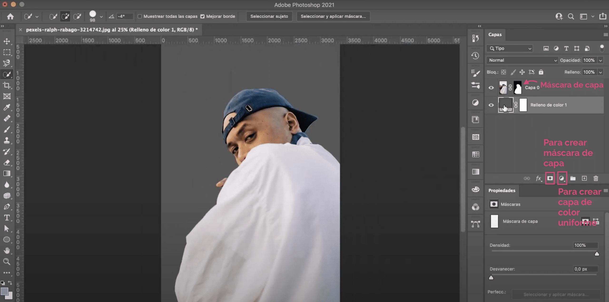 Photoshopでレイヤーマスクと単色レイヤーを作成します