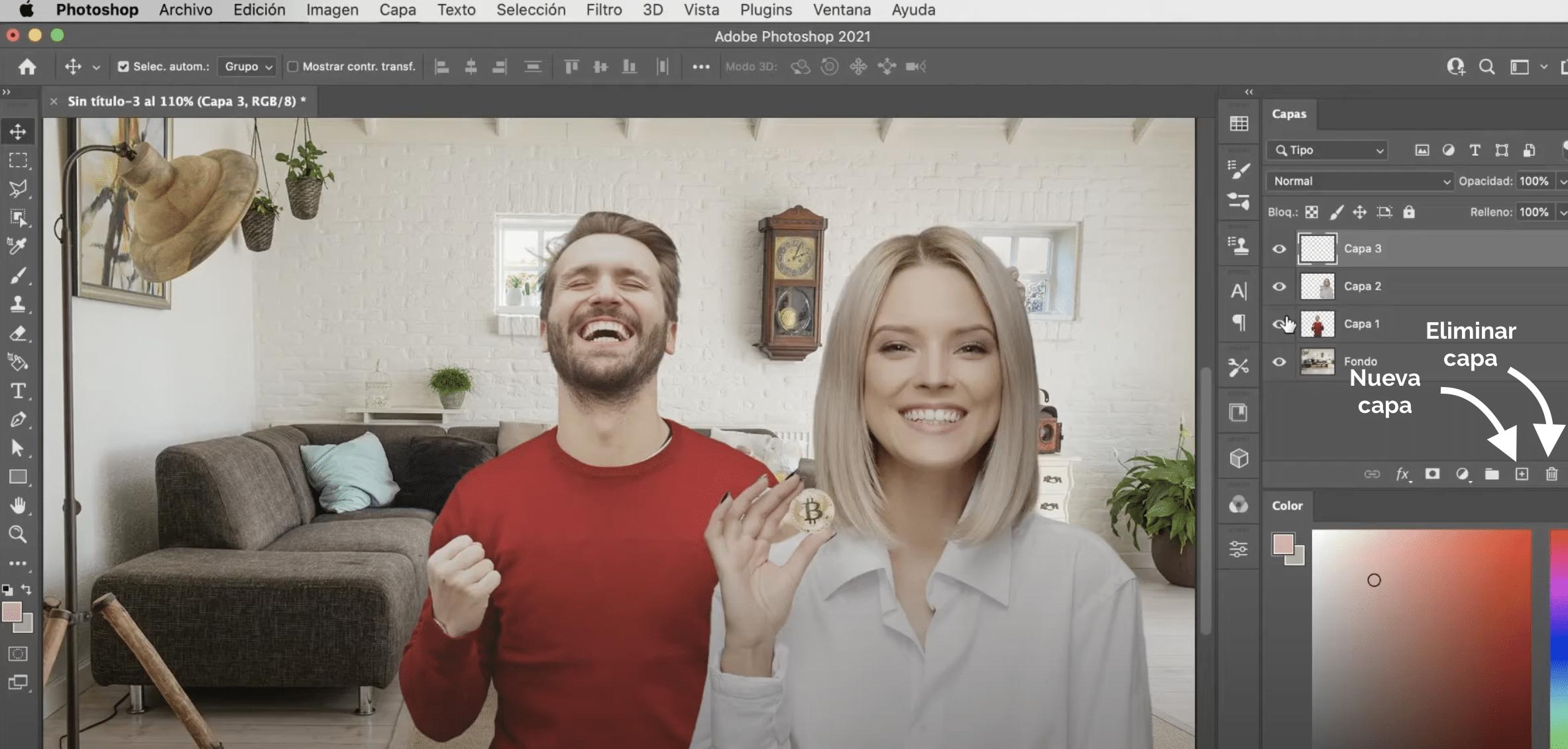 Cómo eliminar, duplicar y crear capas en Adobe Photoshop