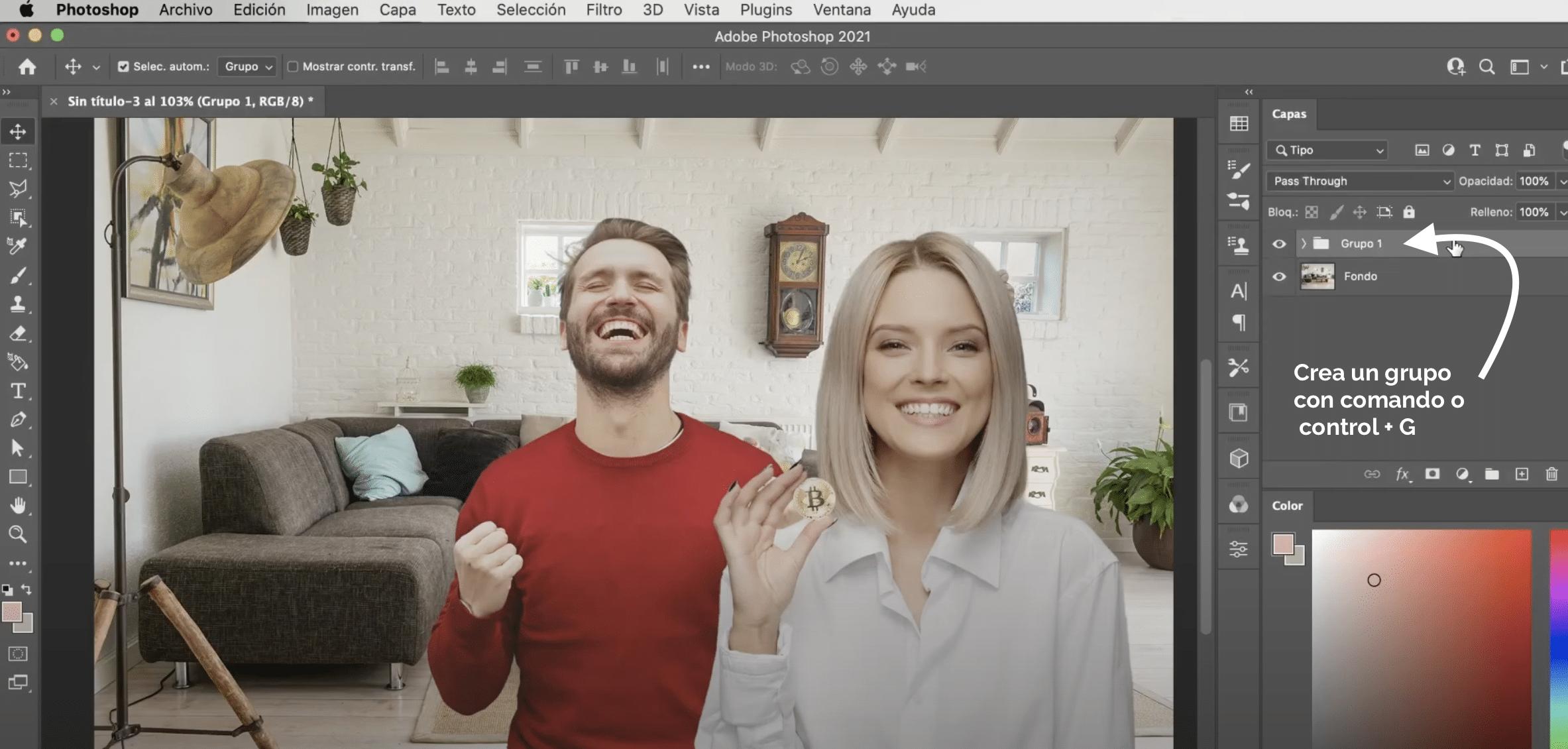 Crear grupos de capas en Photoshop