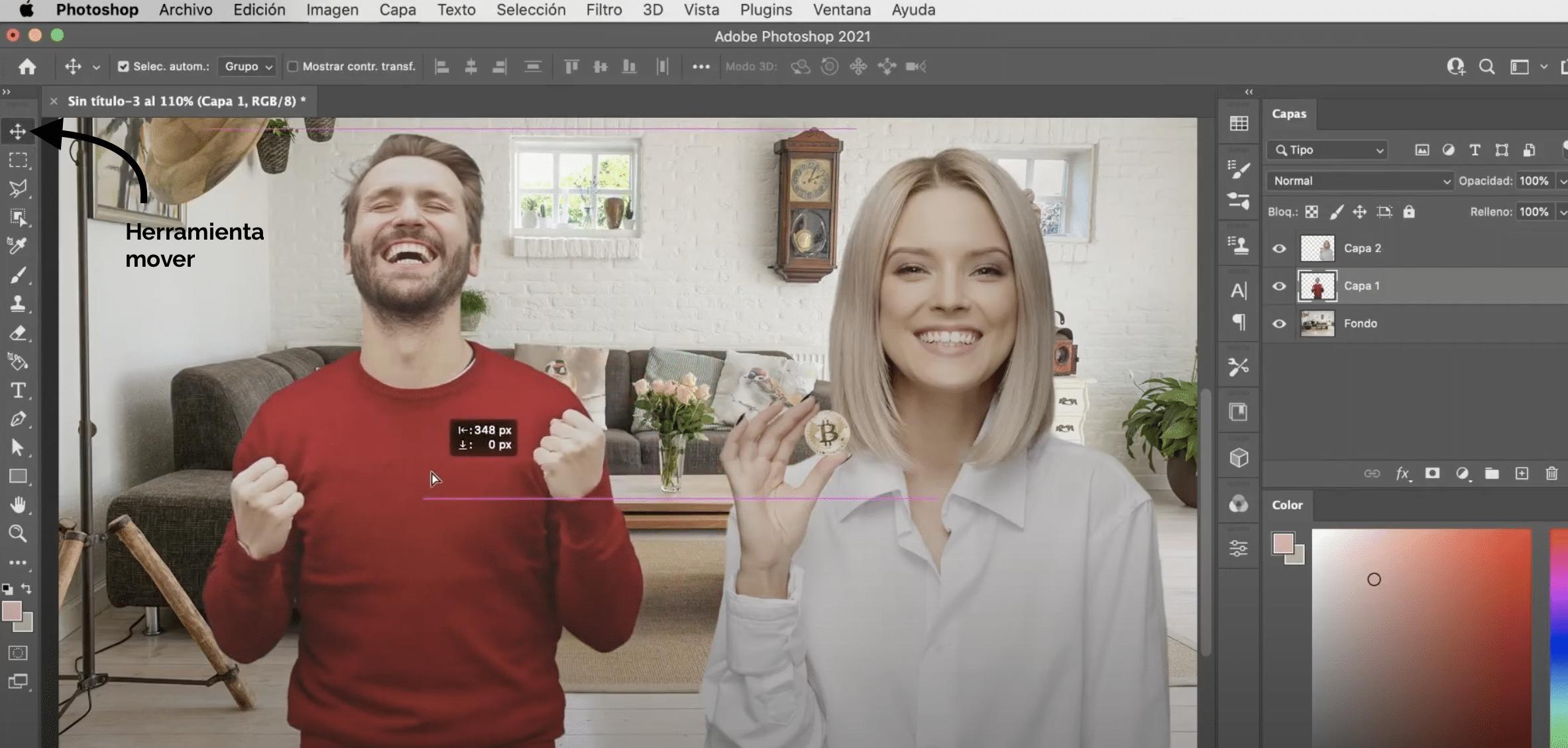 Cómo mover y transformar elementos en Photoshop