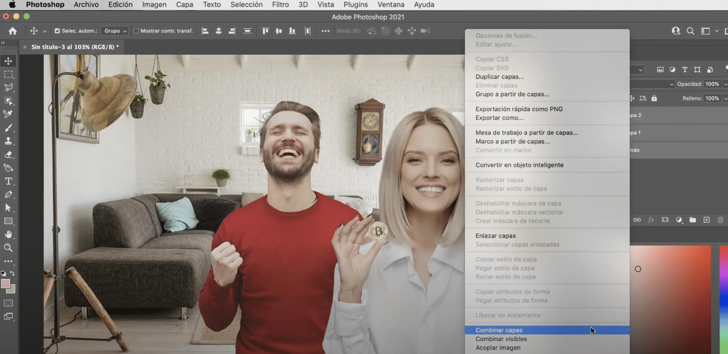 Combinar capas en Photoshop