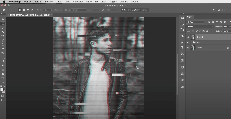 cómo hacer el efecto glitch en Photoshop