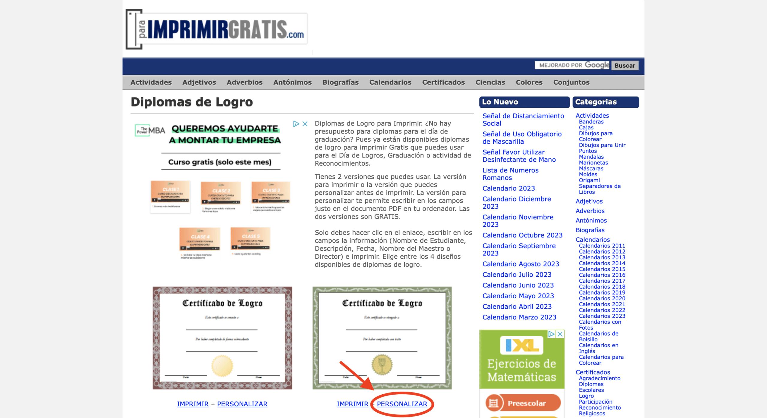 Diplomas virtuales para imprimir