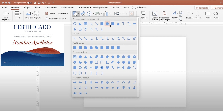 añadir formas a un diploma en PowerPoint