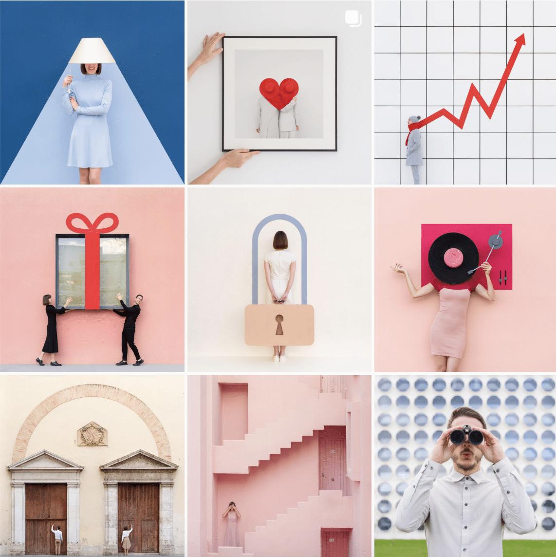 Feed de Instagram en colores pastel