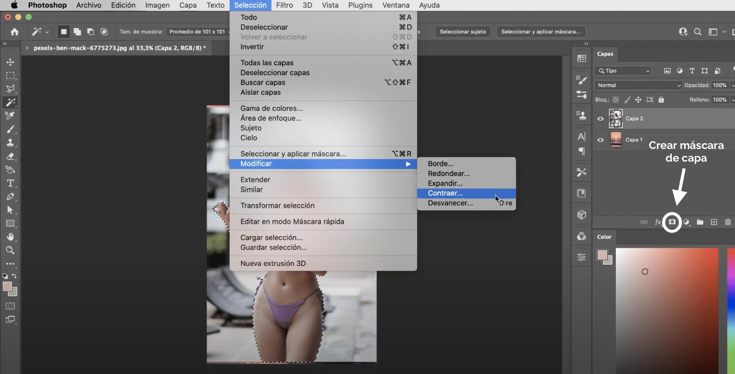 Modificar la selección y crear máscara de capa en Photoshop