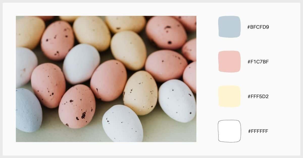 Paleta clásica de colores azul, rosa y amarillo pastel