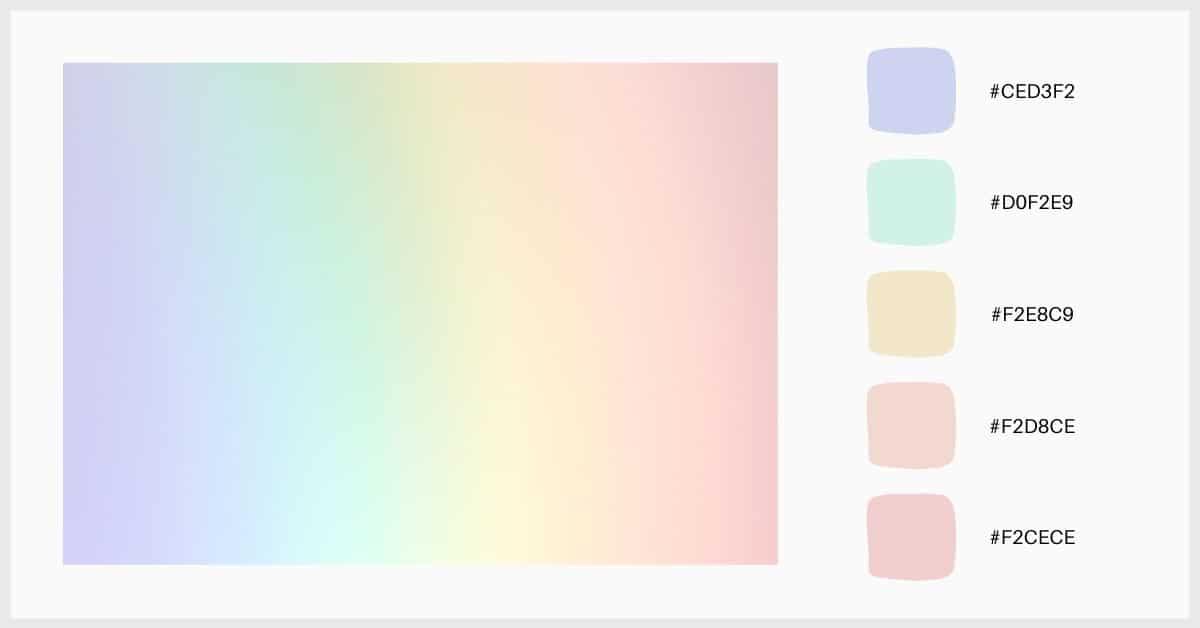 paleta colores del arcoíris en tonos pastel