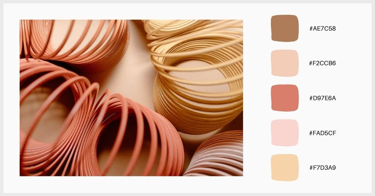 Paleta colores pastel en tonos rosas y teja