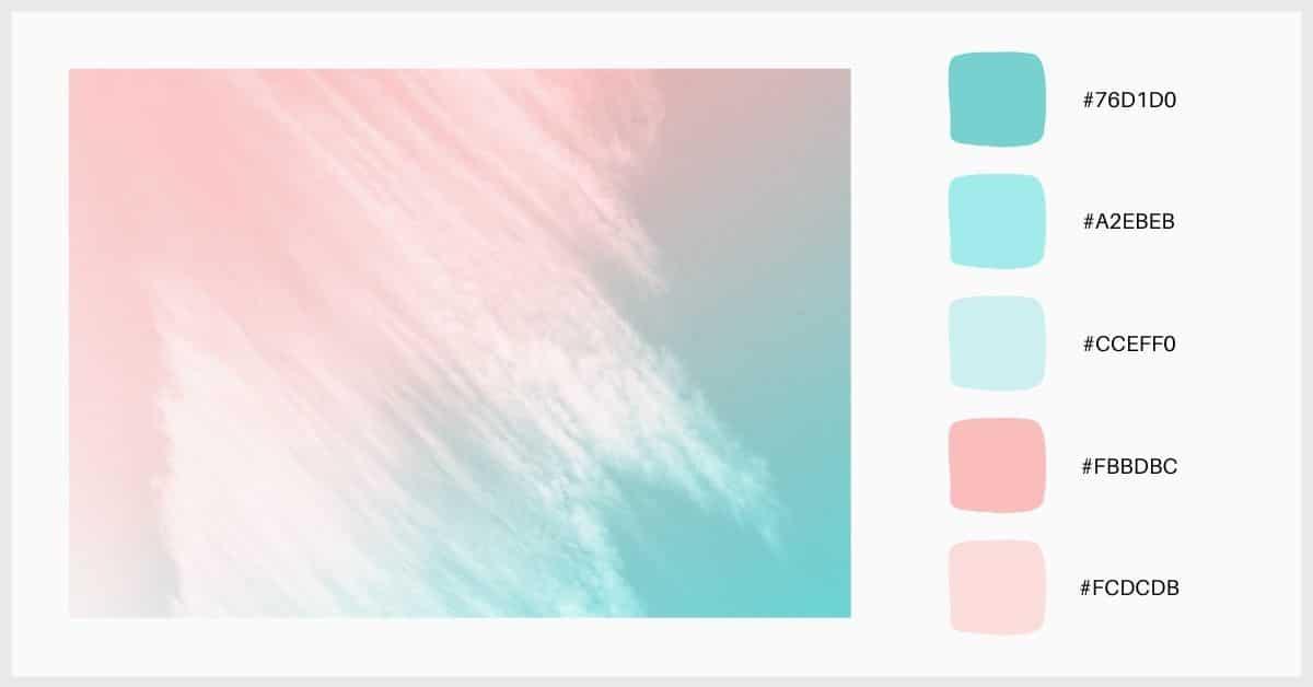 Paleta colores pastel gradientes de rosa y azul