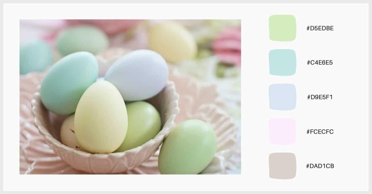 Paleta colores pastel tonos verdes, lilas y amarillos