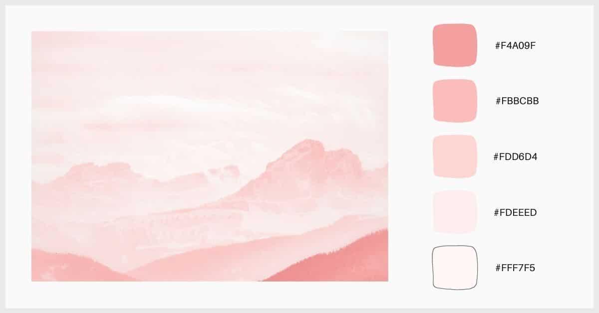 Paltea colores pastel con tonos análogos de rosa