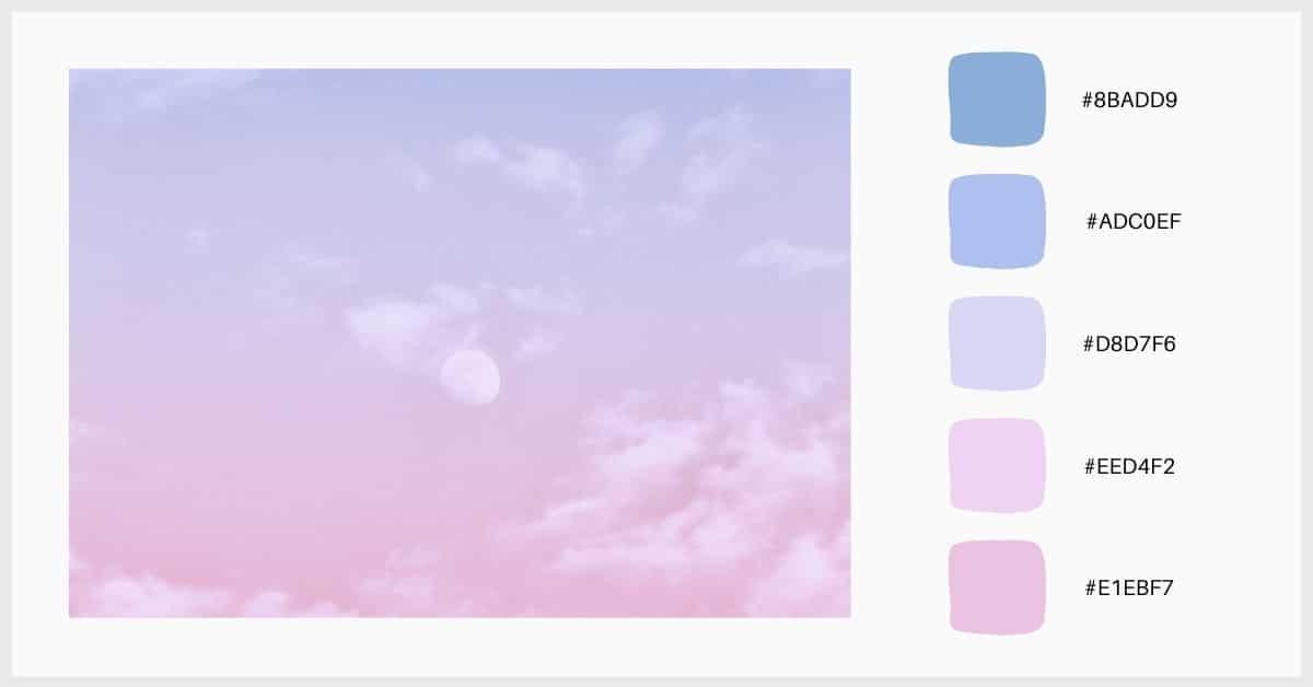 Paleta de colores degradados en tonos pastel