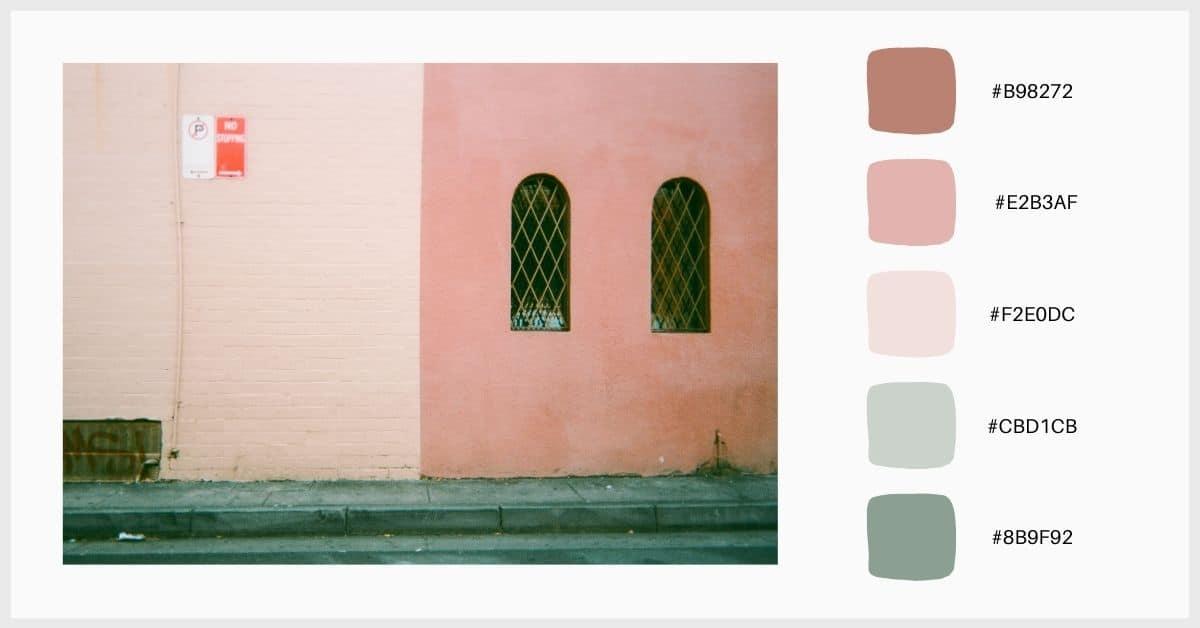 paletas colores pastel tonos verde y rosa