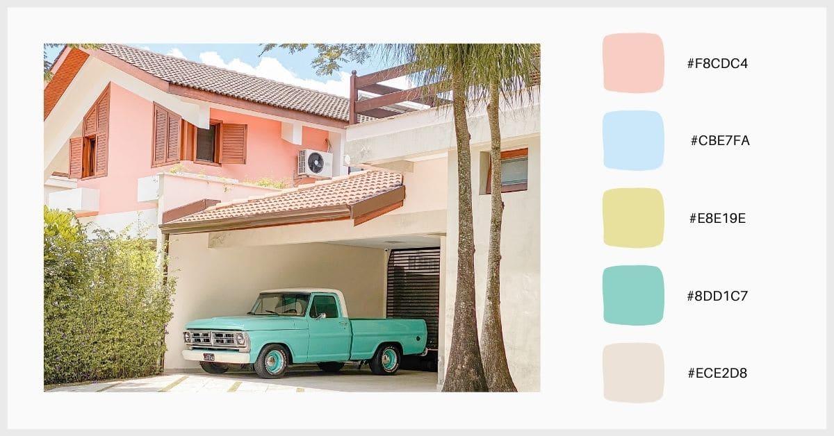 Paleta tonos pastel colores inspirada en los años 60