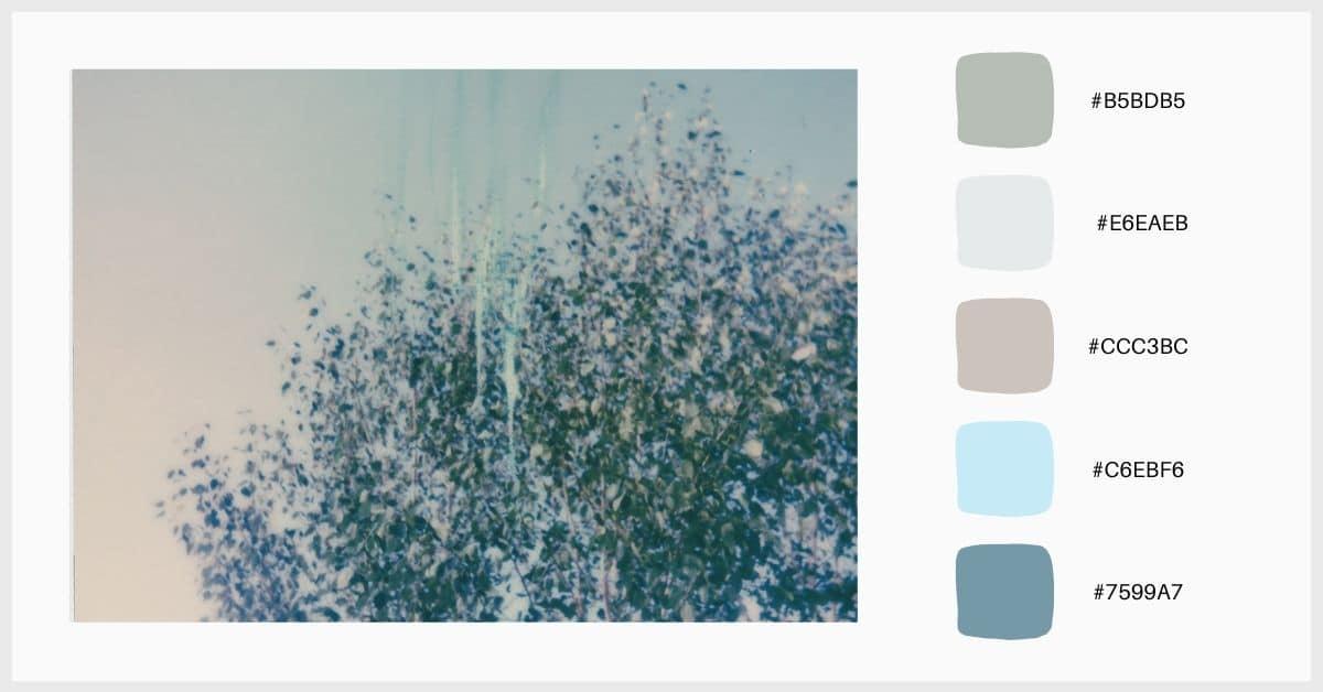 Paleta colores pastel en tonos verdes, azules y grises