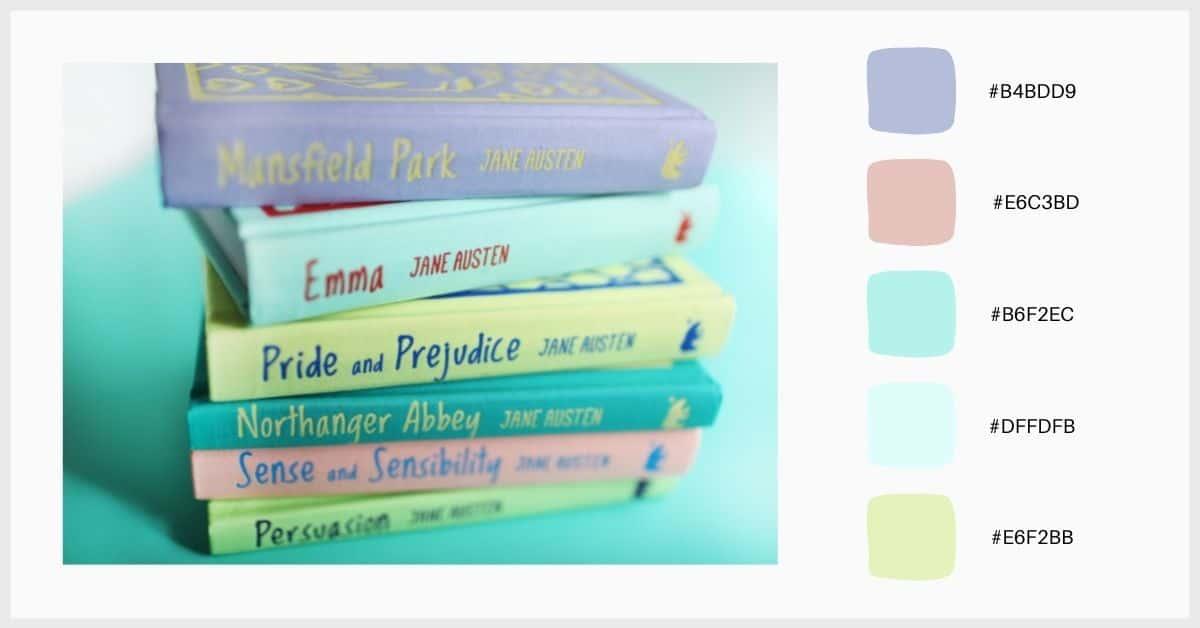 Paleta colores pastel tonos variados