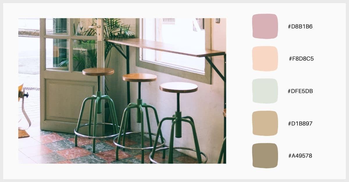 Paleta colores pastel en tonos verdes y apagados