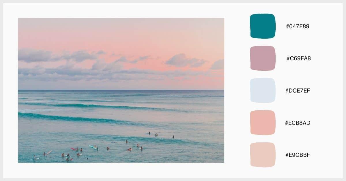 Paletas tonos pastel atardecer colorido