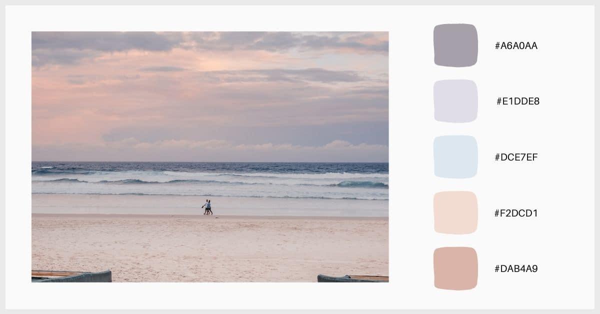 Paleta en tonos lilas y celestas colores pastel