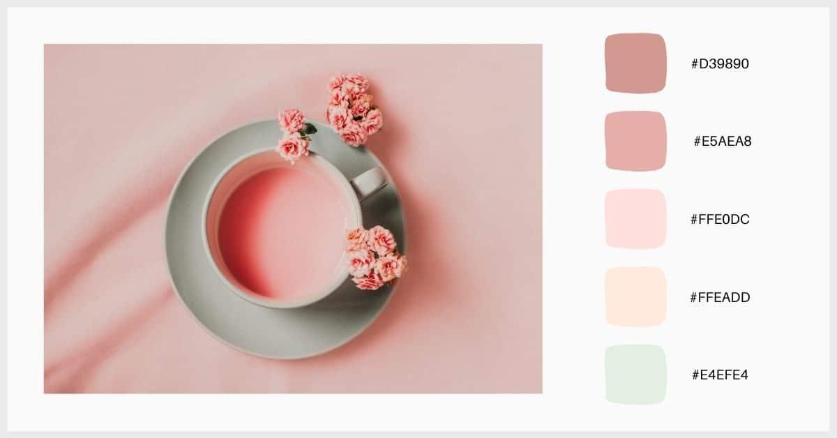 paletas colores pastel tonos de rosa con verde