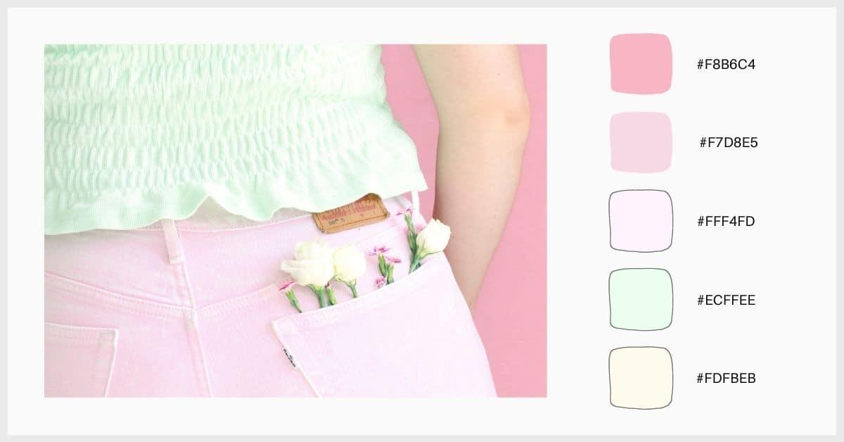Paleta colores pastel tonos de rosa y verde