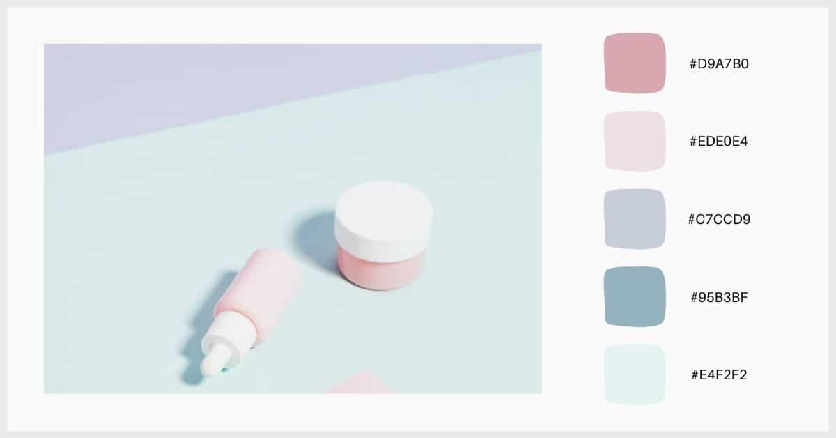 Paleta de colores pastel lila, agua marina y rosa bebé