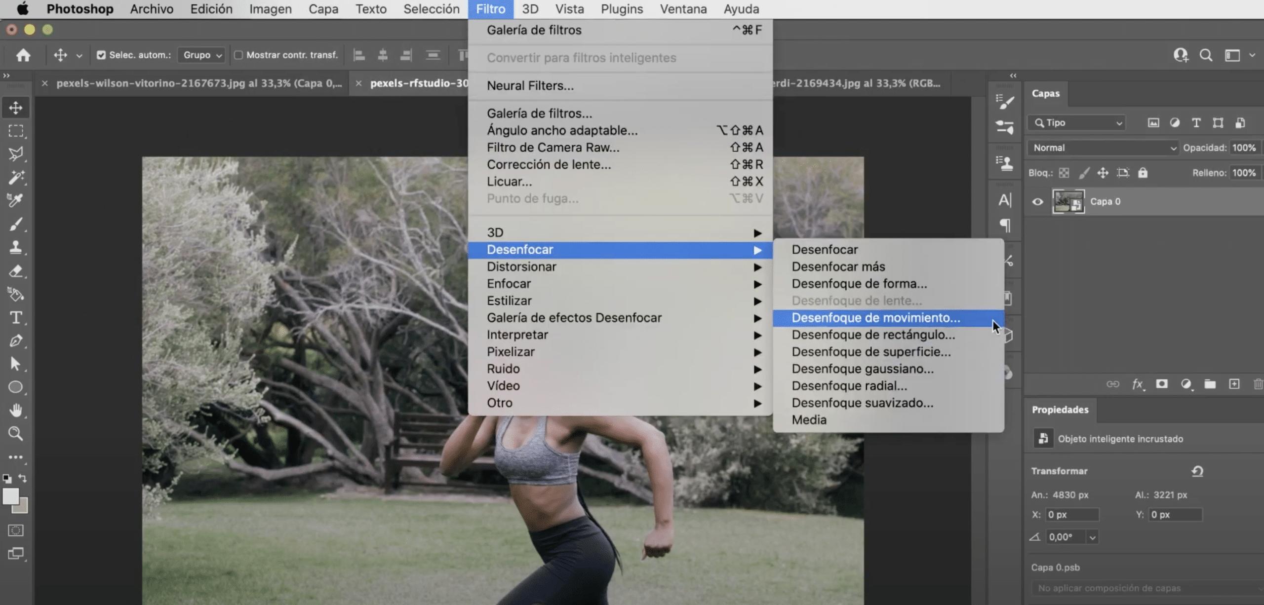 aplicar filtro inteligente de desenfoque en Photoshop