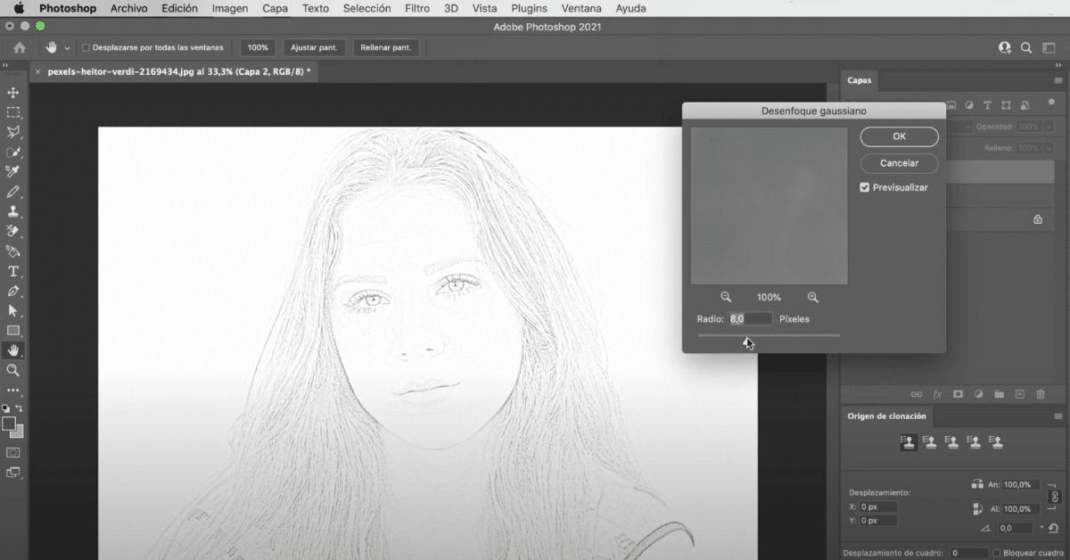 Consigue hacer el efecto dibujo con el filtro de desenfoque gaussiano