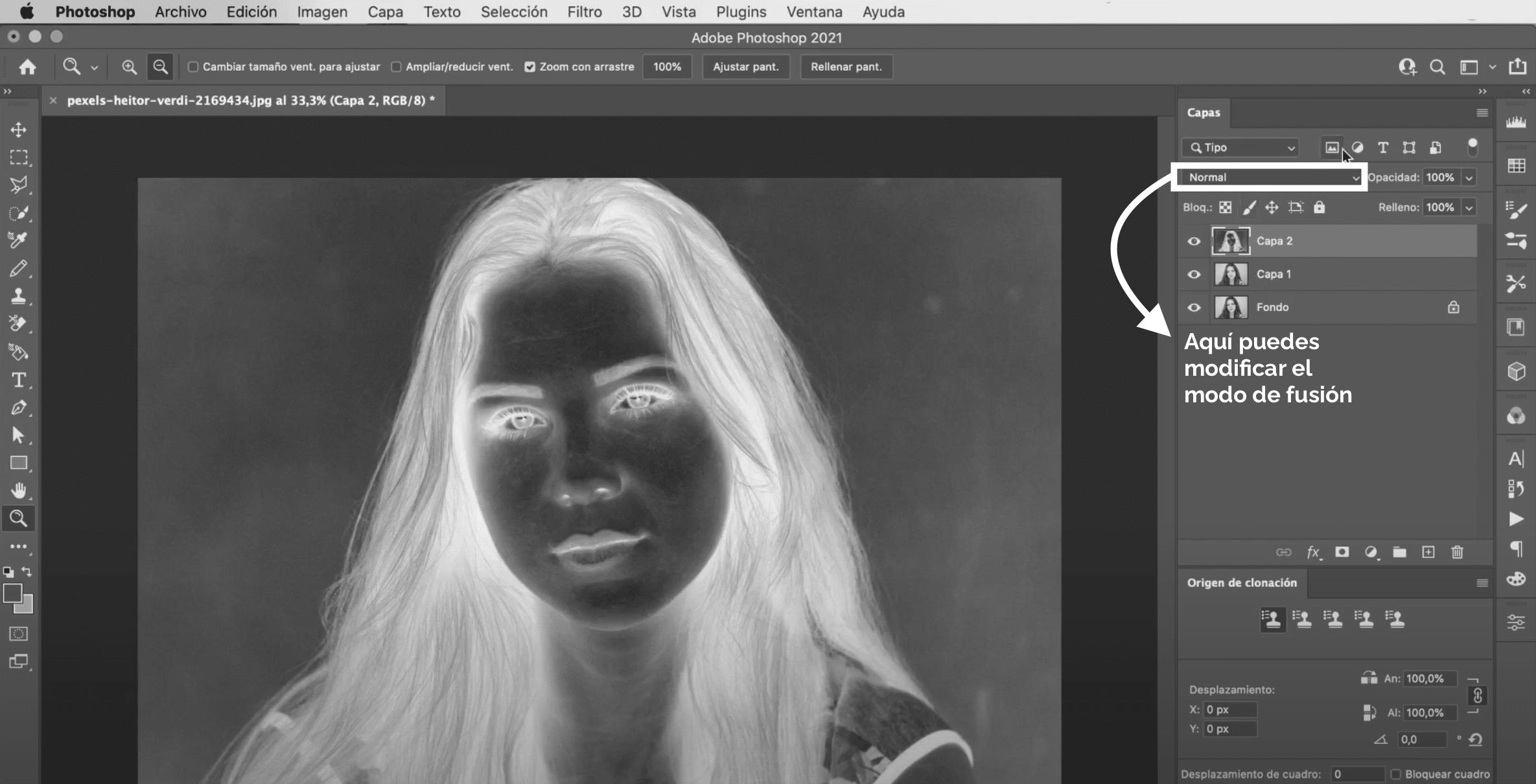 Cambiar el modo de fusión a sobreexponer color en Photoshop