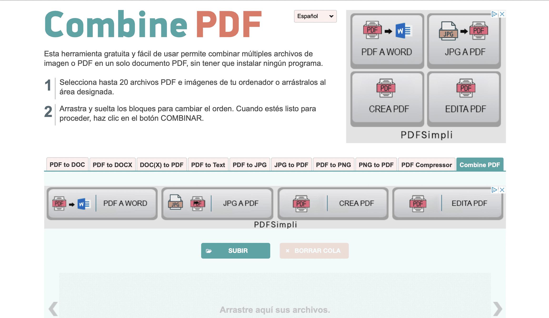 Herramienta combine pdf