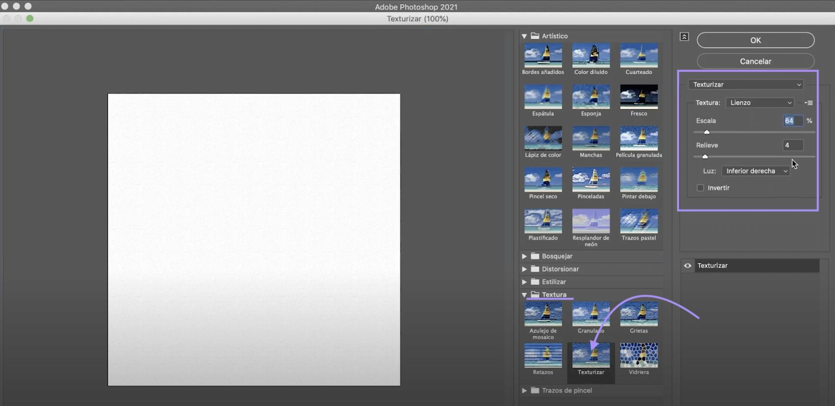 Crea un lienzo con el filtro texturizar en Photoshop