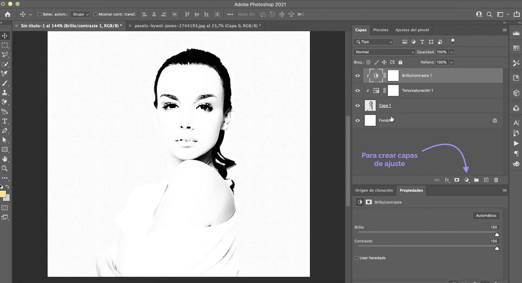 Crear nueva capa de ajuste en Photoshop