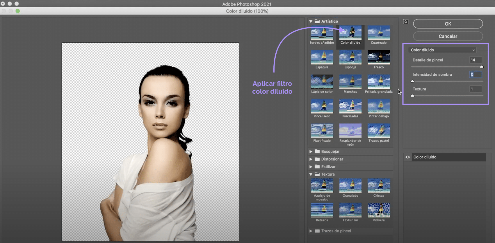 Filtro color diluido en Photoshop