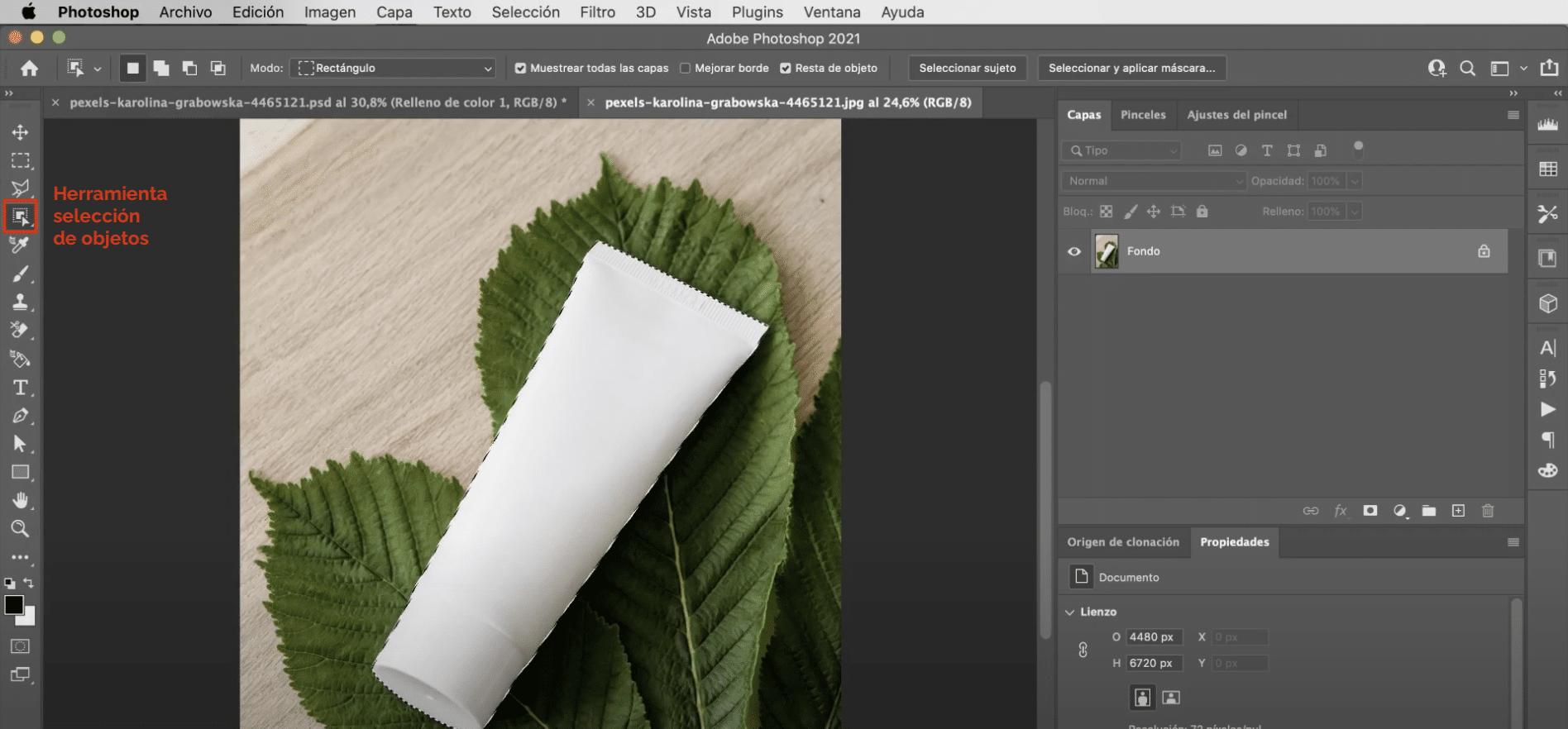 Herramienta selección de objetos en Photoshop