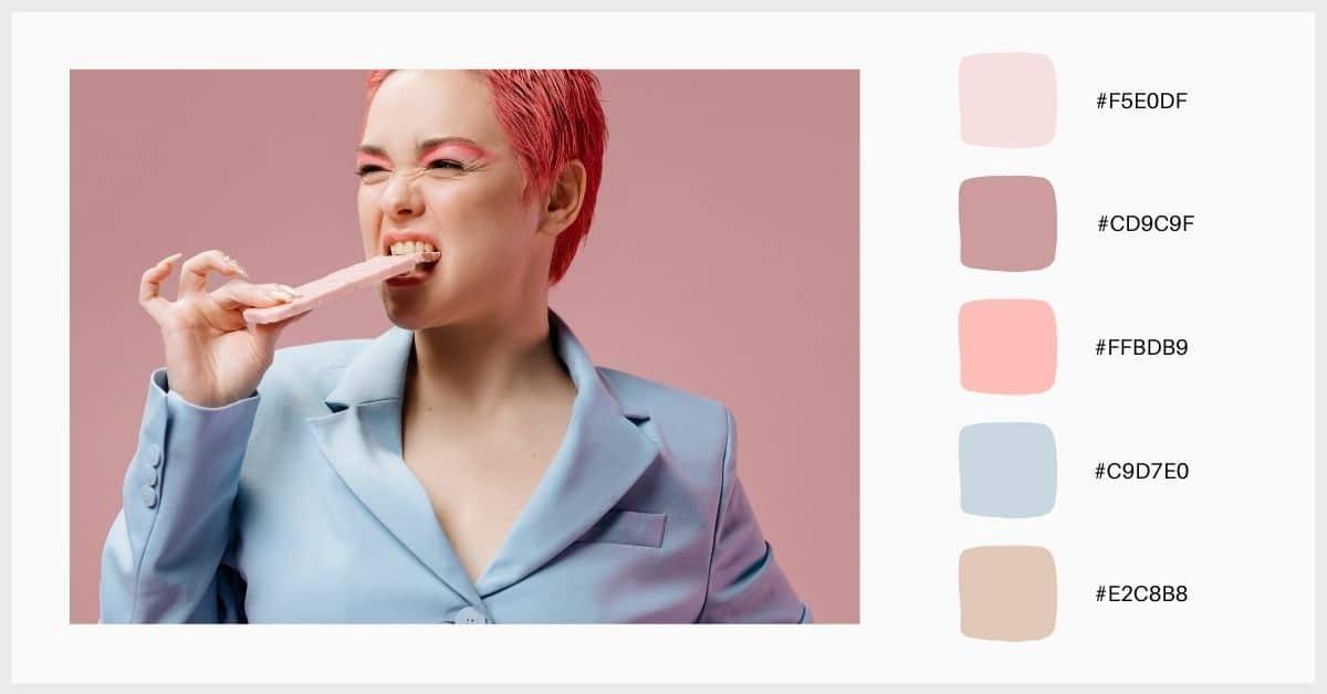 Paleta de contraste entre colores pastel y tonos apagados