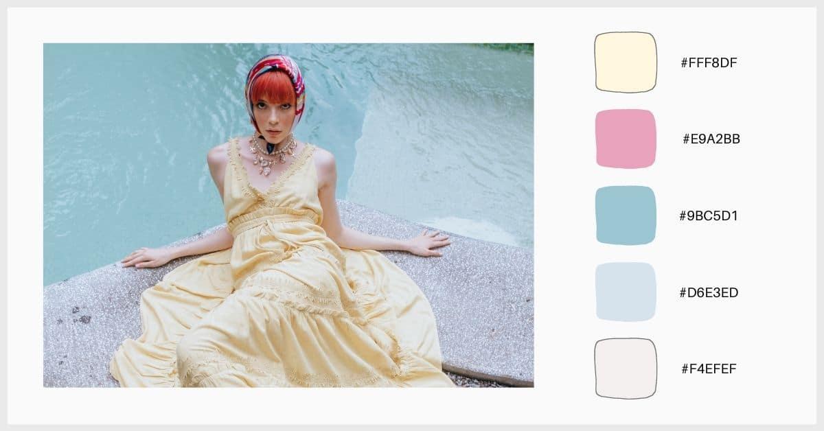 Paletas colores pastel amarillo y azul aguamarina