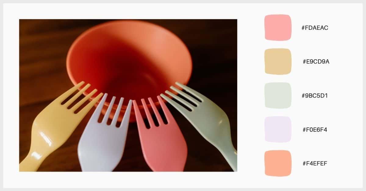 Paletas tonos pastel en amarillo, lila, mandarina y verde