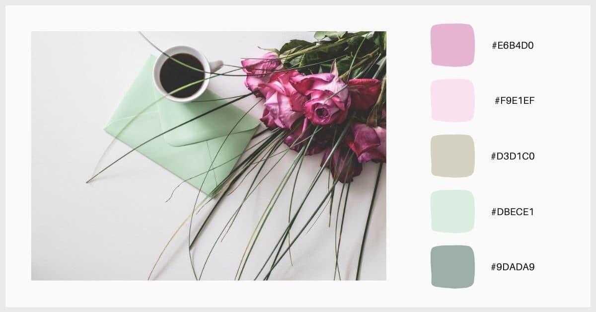 Paleta tonos verde pastel, rosa y gris
