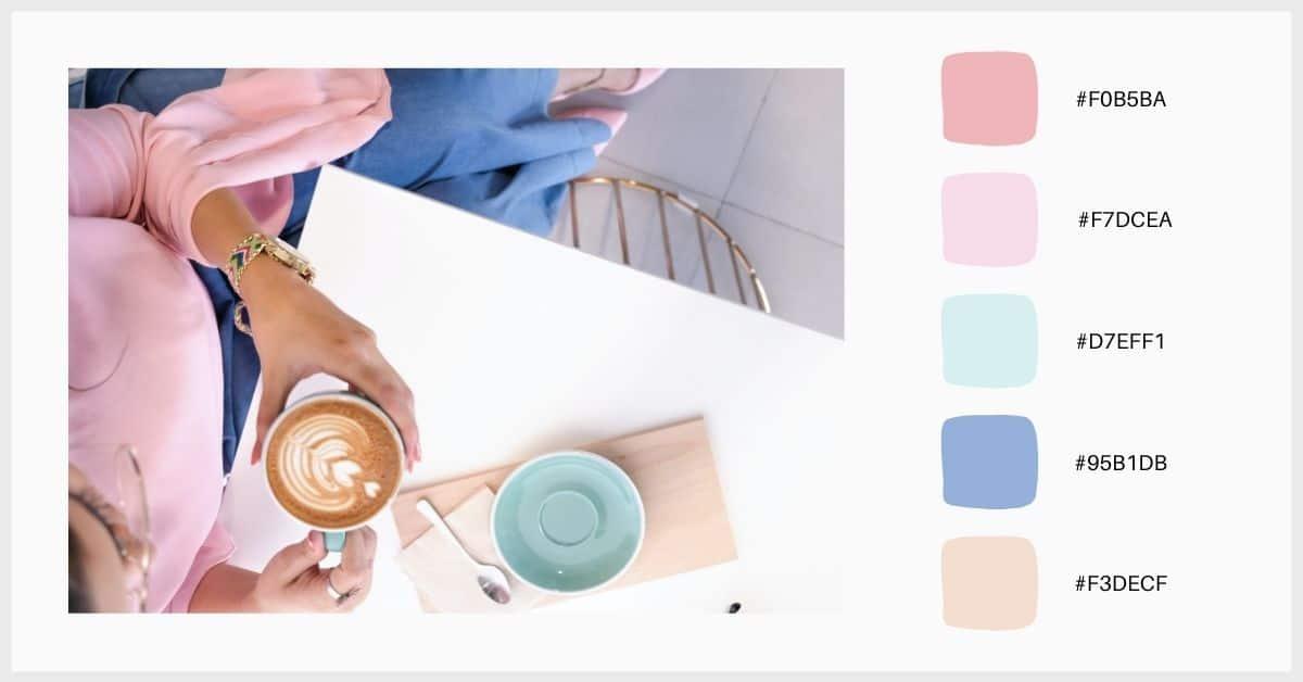 Paletas tonos pastel en tonos rosas, azul y crudos