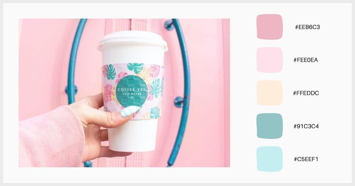 Paleta colores pastel con rosa chicle