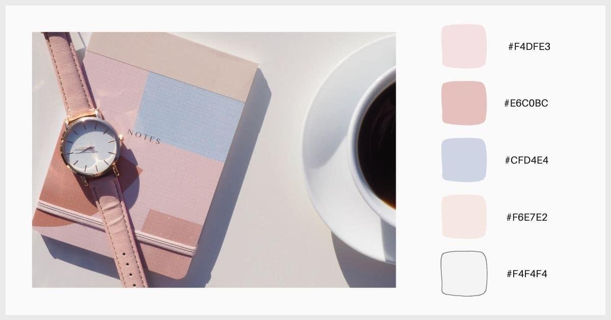 Paleta colores pastel con tonos de rosa y morado
