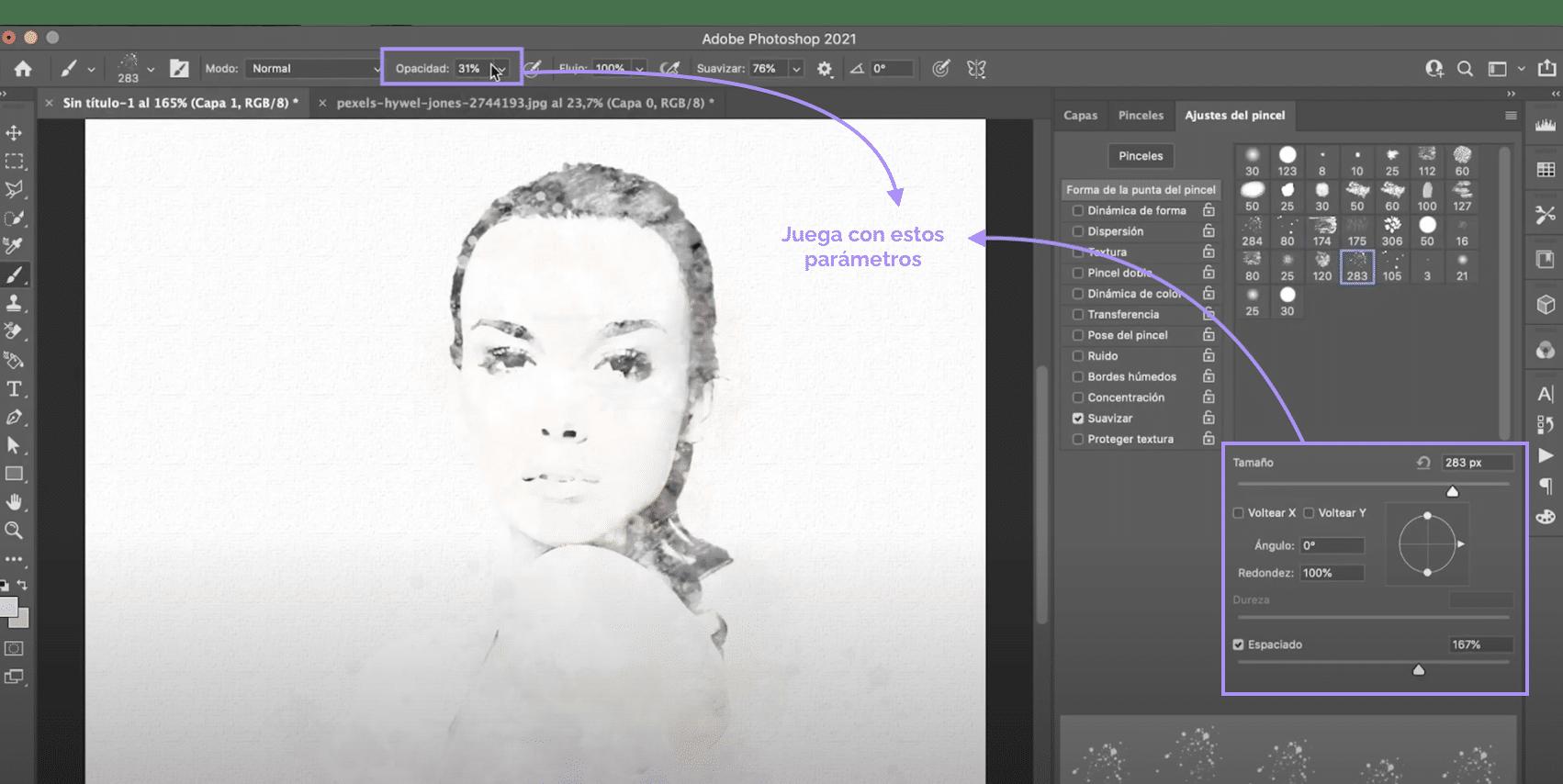 Utiliza pinceles artísticos para crear el efecto acuarela en Photoshop