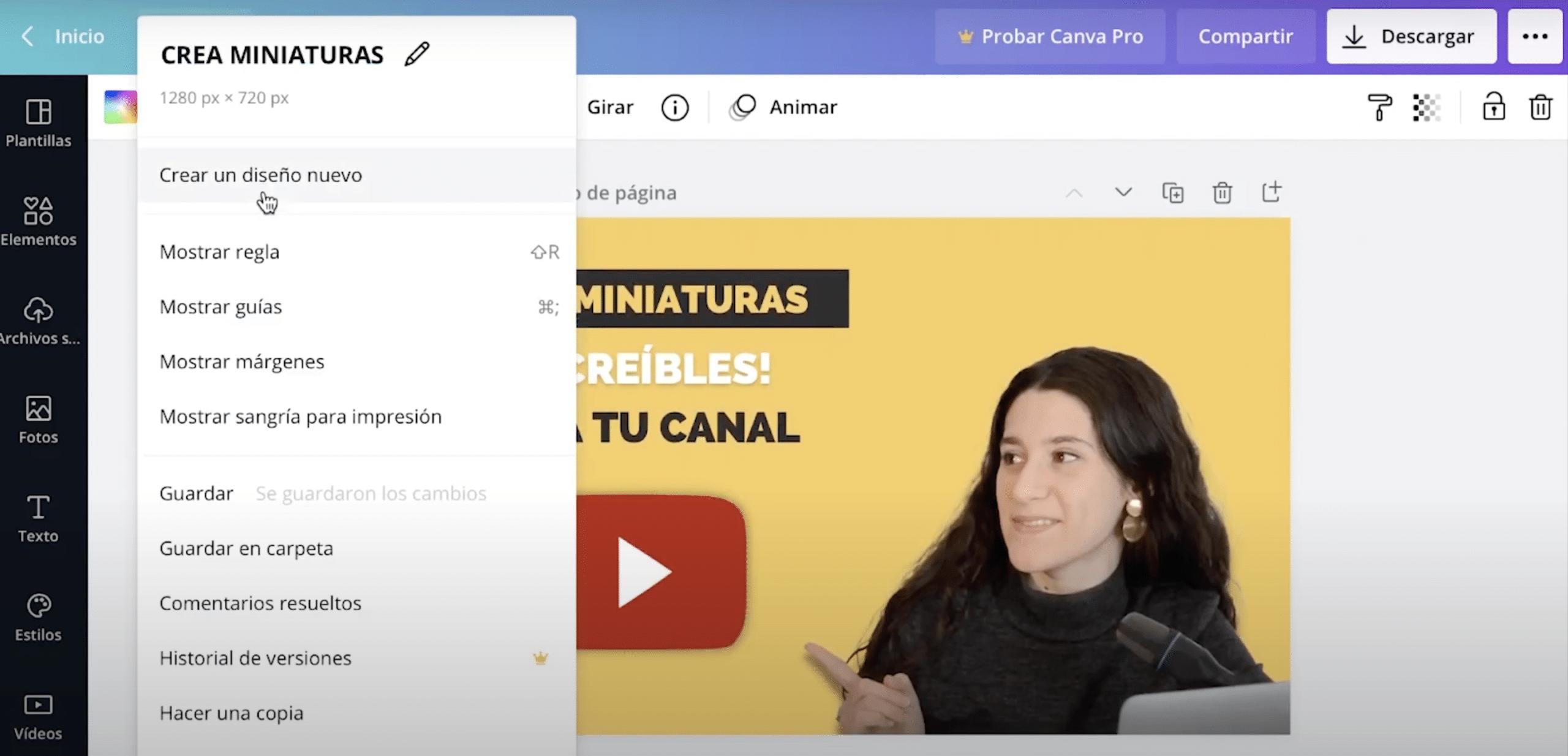 cómo crear un nuevo documento en Canva