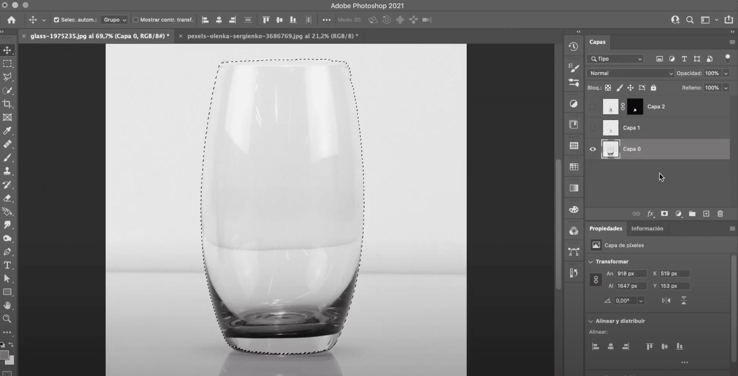 Selecciona con la herramienta selección rápida en Photoshop