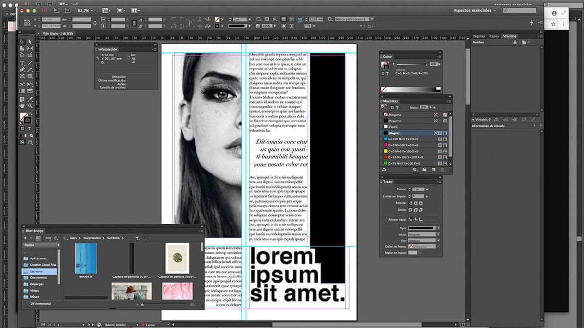 Interfaz de InDesign