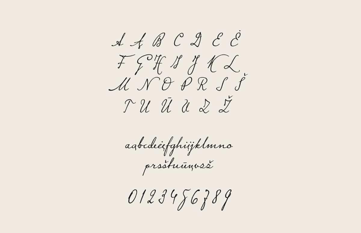 Presentación de tipografía manuscrita